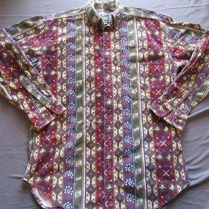 Mens Vtg Woolrich Colorful Button Down Shirt